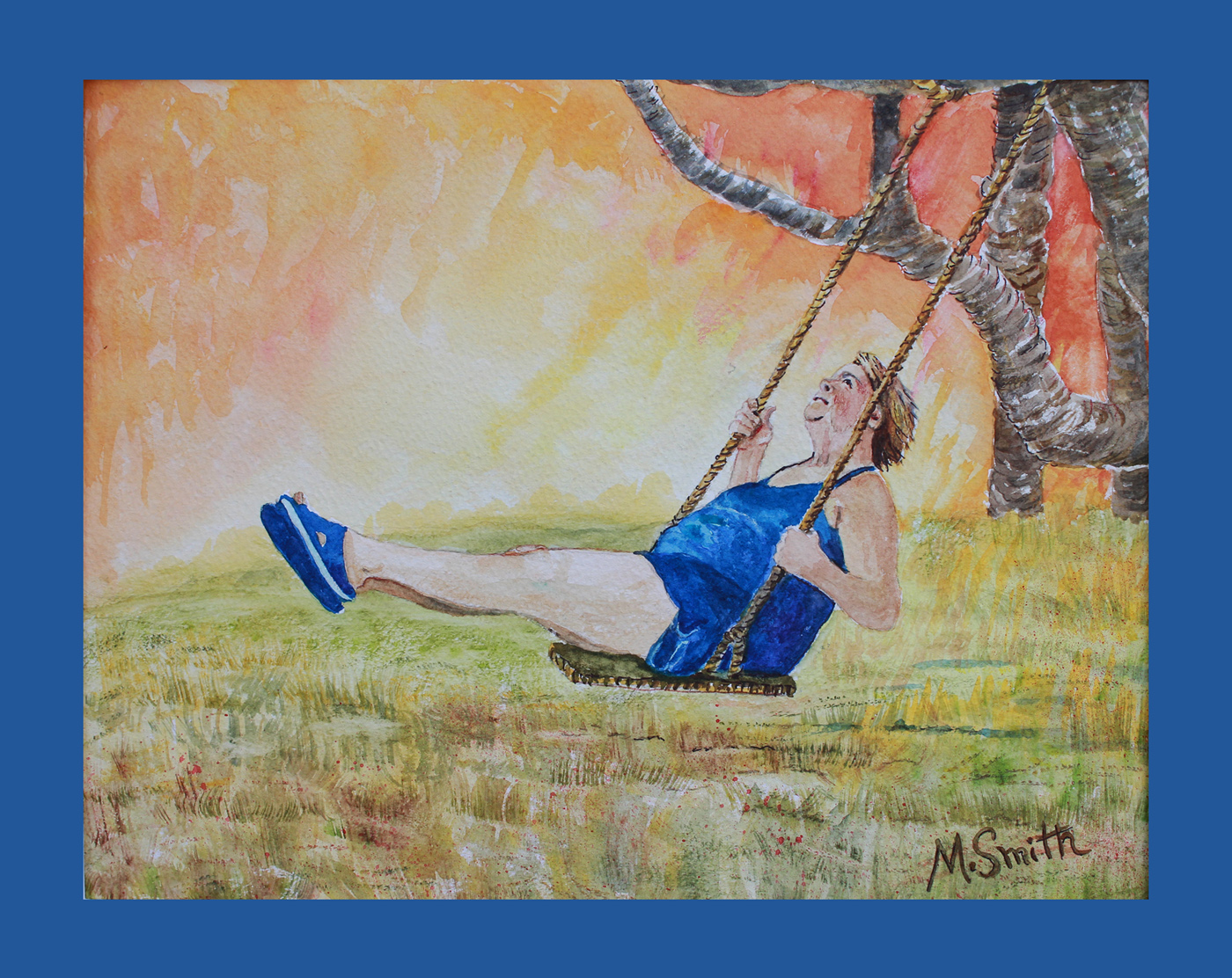 """""""AUTUMN JOY"""" W/C on paper, 17"""" X 21"""" with blue mat and silver frame. $225"""