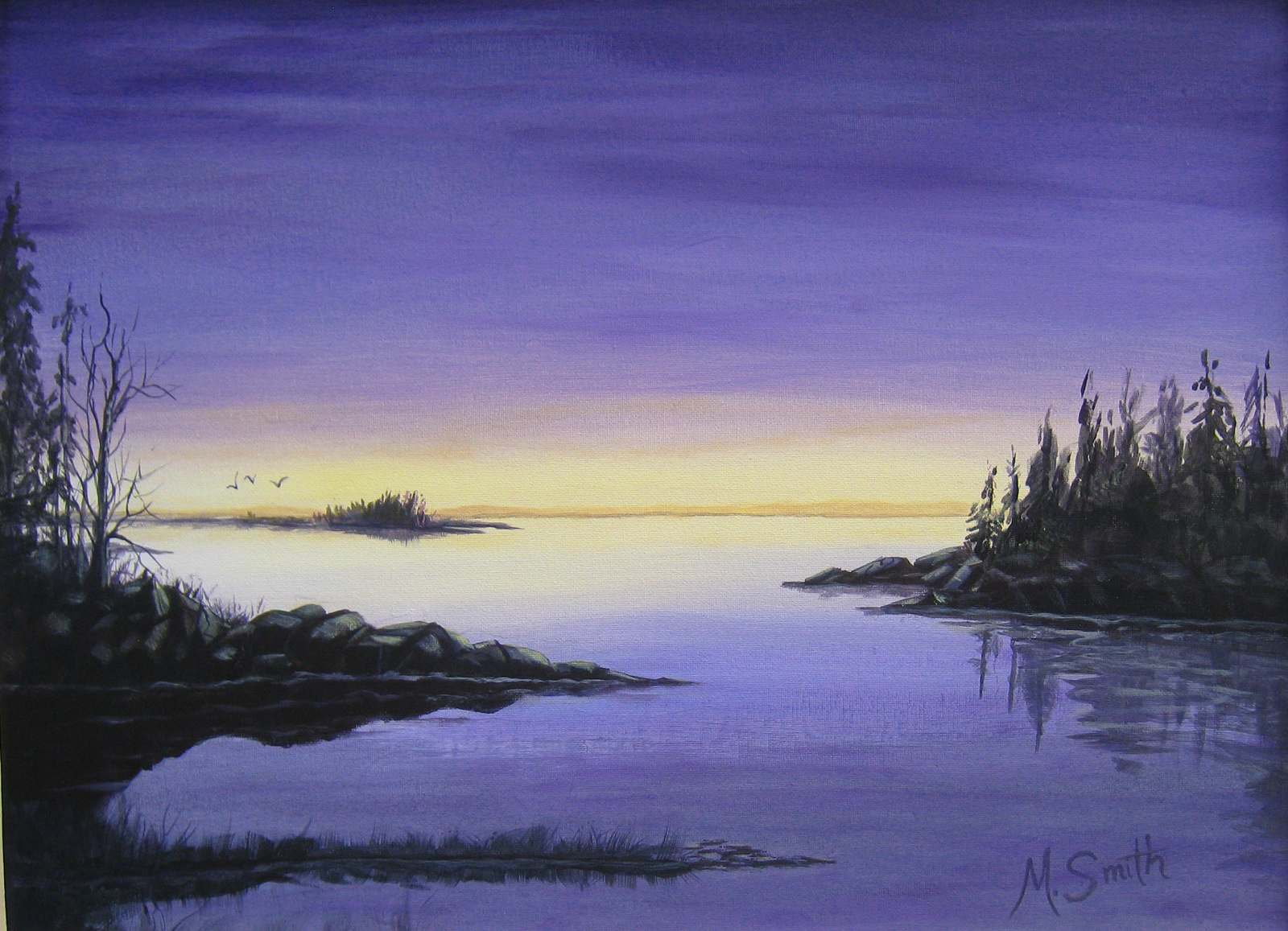 """""""BACK HARBOR"""" ACRYLIC on CANVAS 19"""" X 24"""" total size with tan 1"""" frame. $260"""