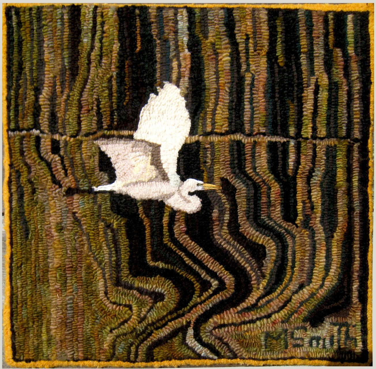 """Egret"" Hooked rug made of wool yarn 17"" X 17"" $450 ."