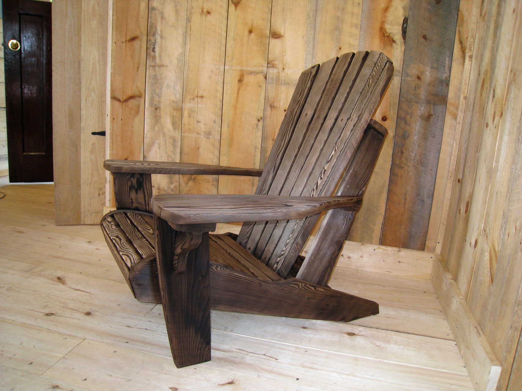 Adirondack chairs made from Hemlock and burned. $140.