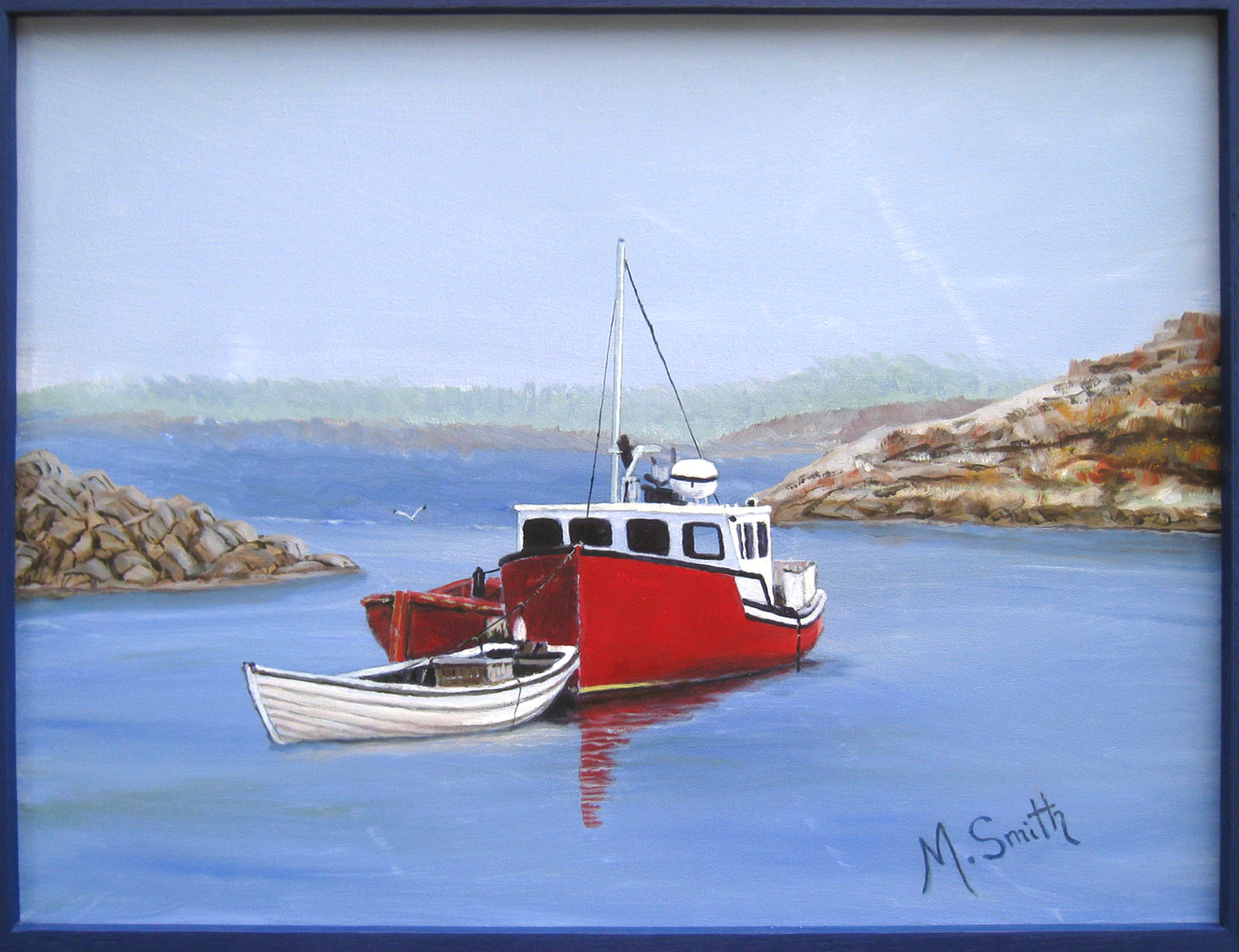 "Safe Harbour,Acrylic on canvas, 19"" X 24"" with 1"" Blue frame,$260"