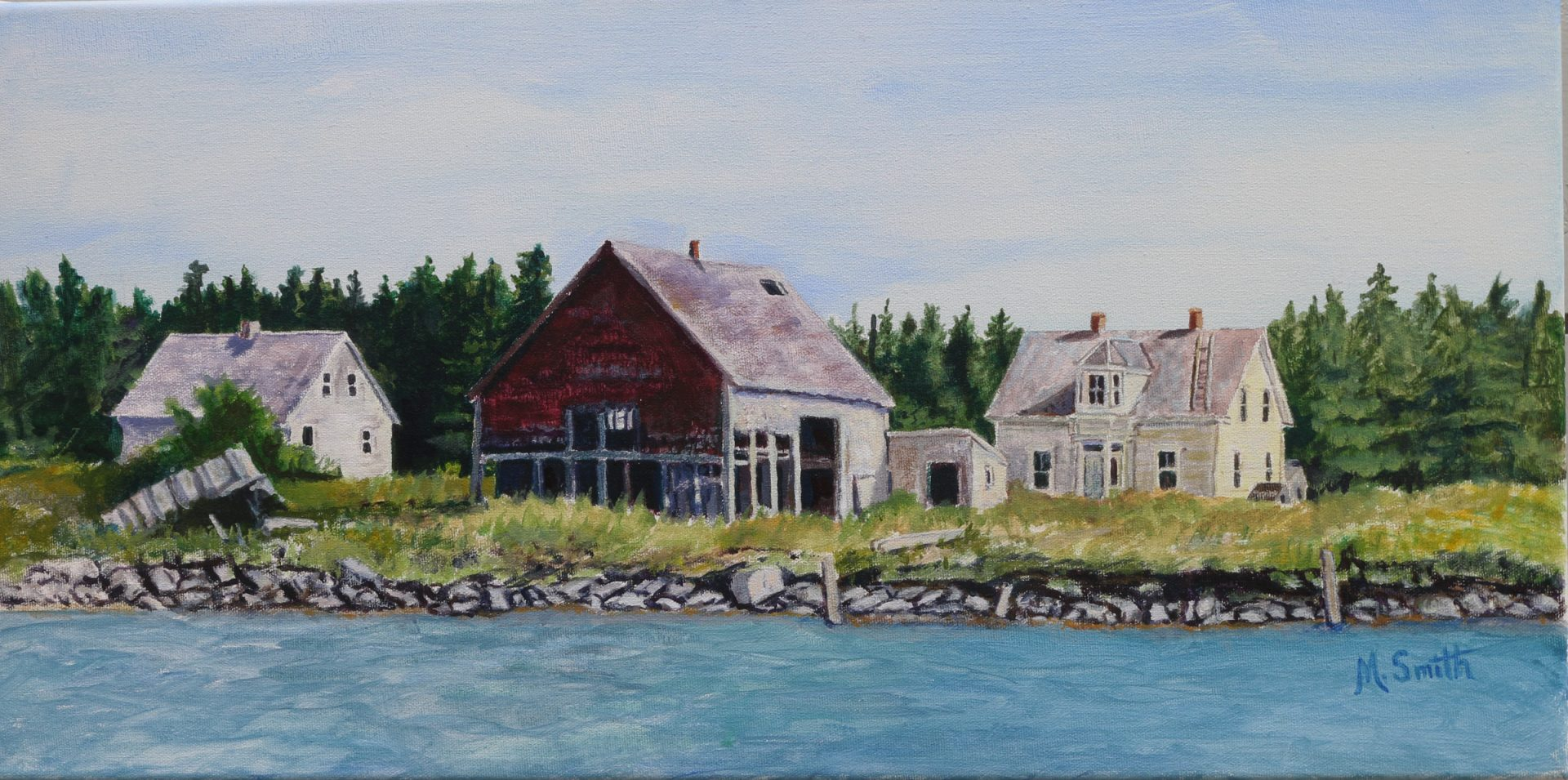 """""""West Spectacle Isl. 1988"""", Acrylic on canvas,12""""X 24"""",  SOLD"""