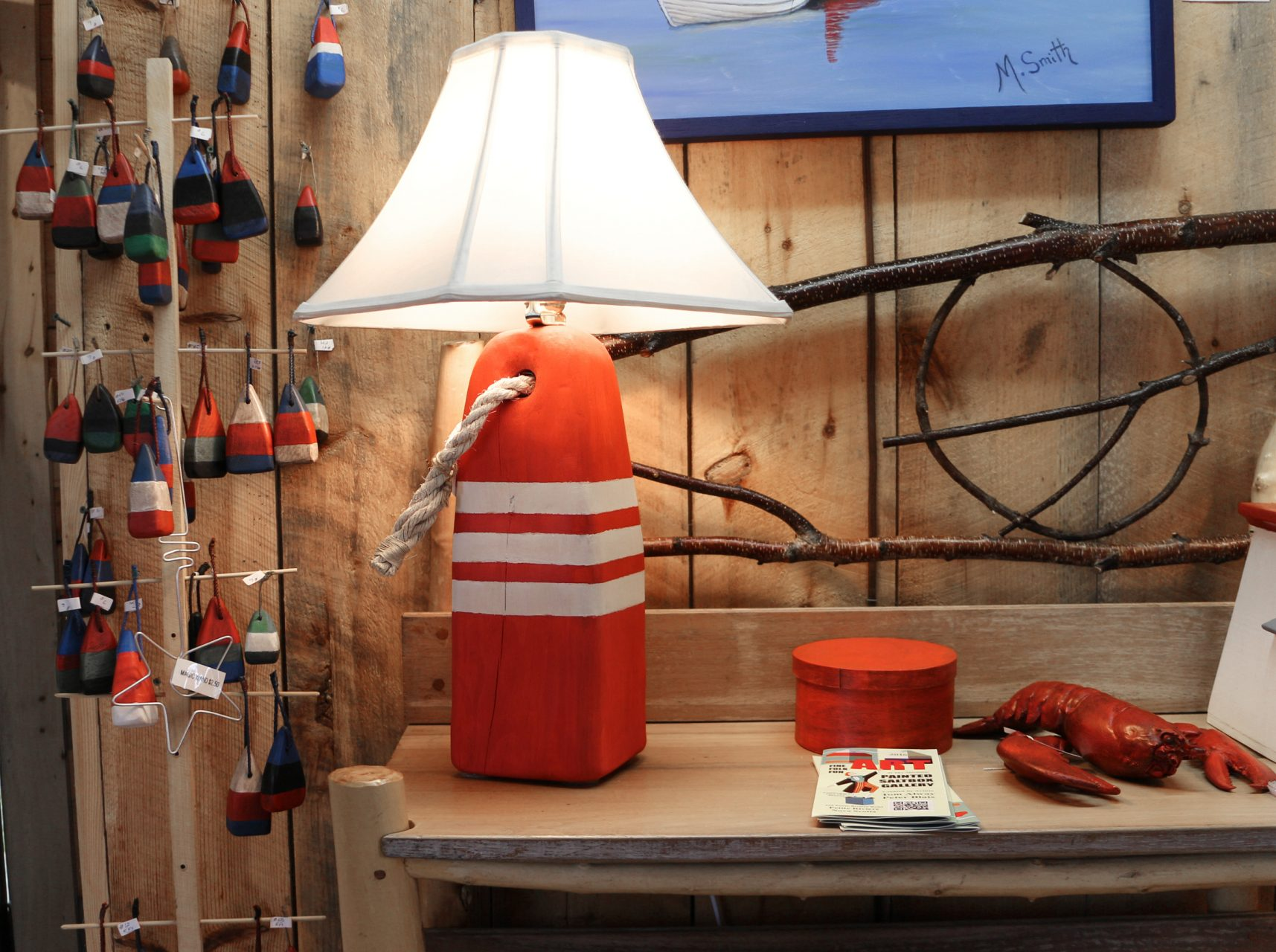 "red/white buoy light,$70/ shade, $25. red shaker box 6"", $20."
