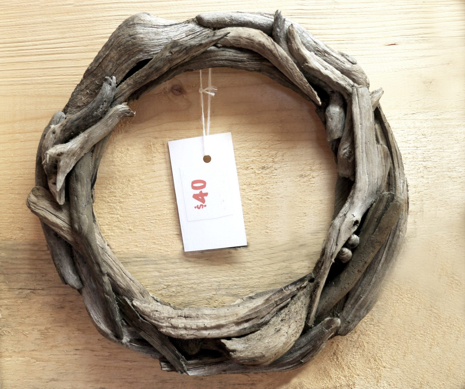 "driftwood wreath 12"",$40."