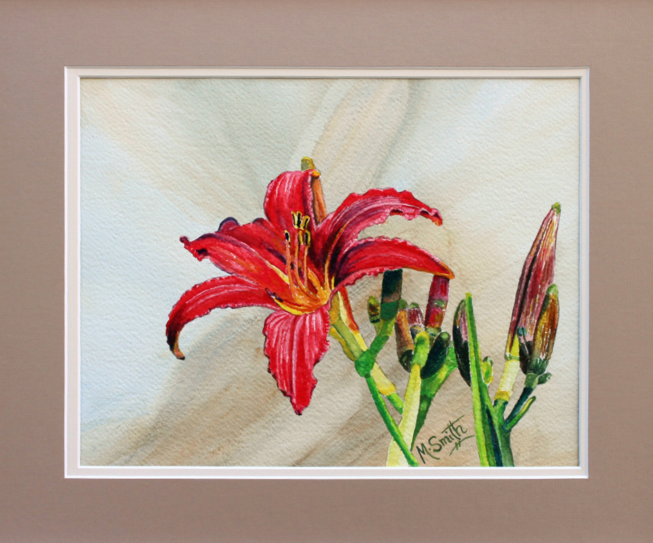 """""""Favorite Lily"""" $365. W/C on paper, 17"""" X 22"""" total  size with double mat and white frame."""