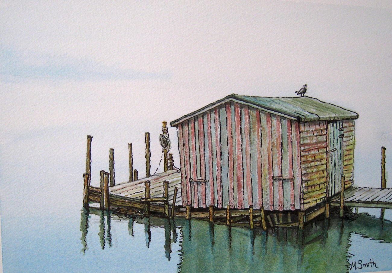 """""""LOST"""" W/C on paper, SOLD This little building was washed away in a winter storm."""