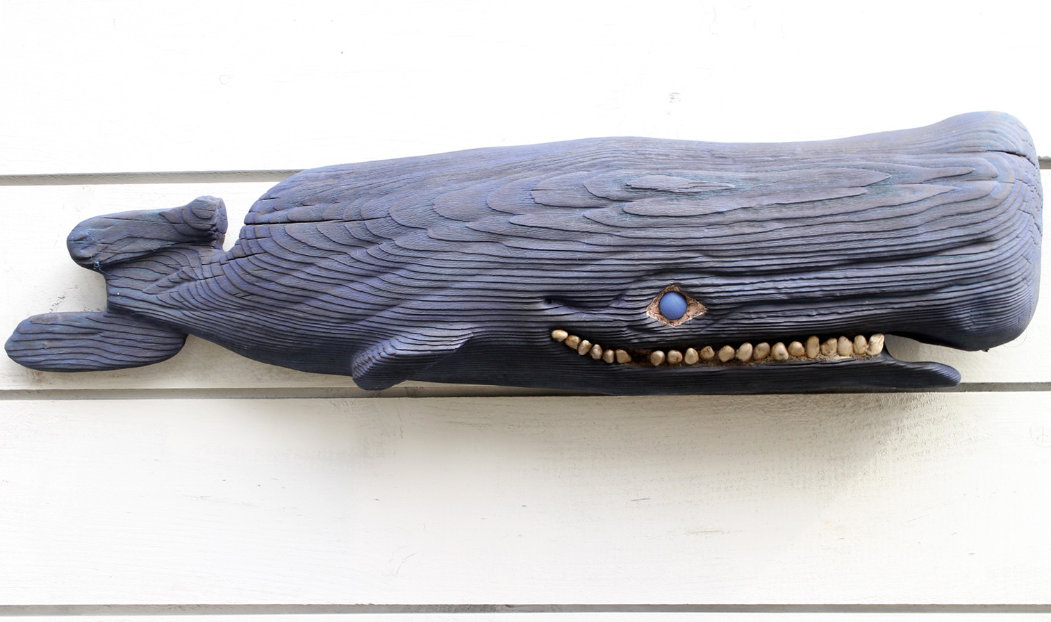 "SOLD  ""OLD BLUE"" $240. Carved Whale of wood approx. length 3 ft."