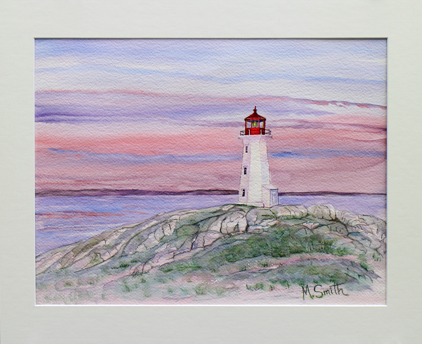 """""""PEGGY in PINK"""", Peggy's Light House in Nova Scotia. W/C on paper 16"""" X 20"""", Total size with off white mat and Metal frame. $375"""