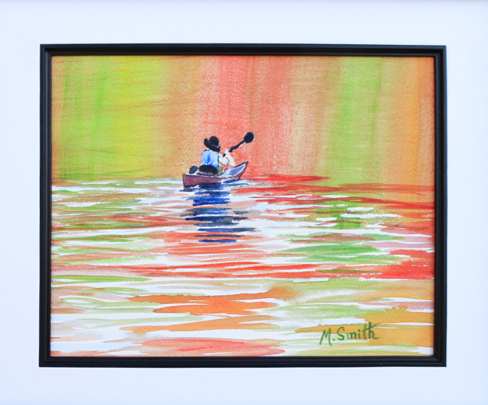 """""""REFLECTIONS"""" W/C on PAPER 13"""" X 16"""" total size with white mat and black frame. $200"""