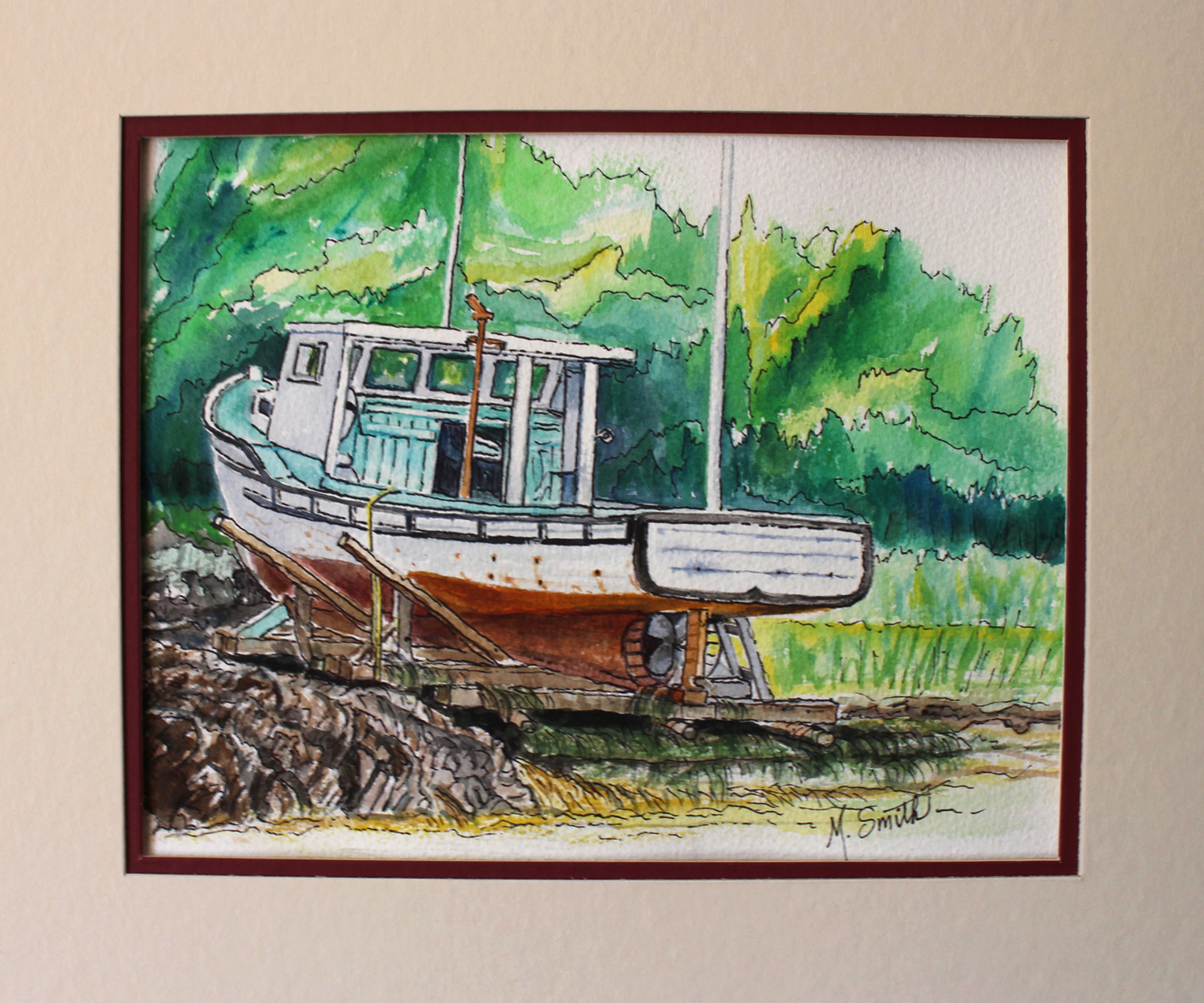 """""""RETIRED""""   SOLD W/C and INK on paper 12"""" X 14"""" total size with double mat and no frame. $150"""